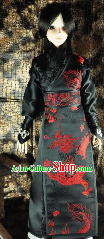 Ancient Chinese Black Swordsman Dragon Clothing for Men