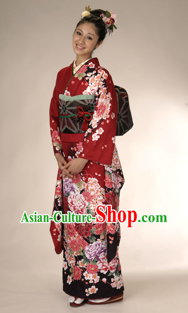 Japanese Classical Kimono Clothing Complete Set for Women