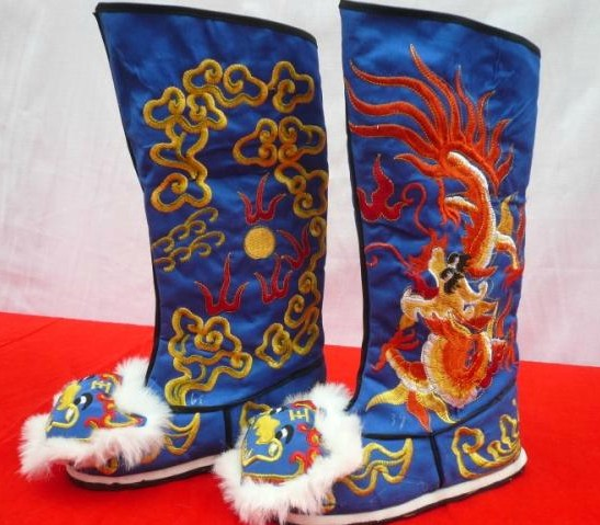 Chinese Classical Blue Embroidered Dragon Boots