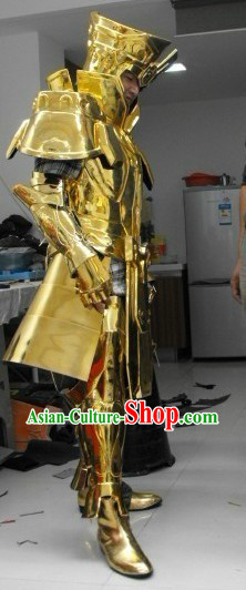 Ancient Chinese Golden Armor Costume and Helmet for Men