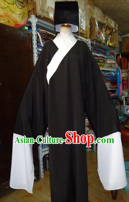 Chinese Opera Laosheng Black Robe and Hat for Men