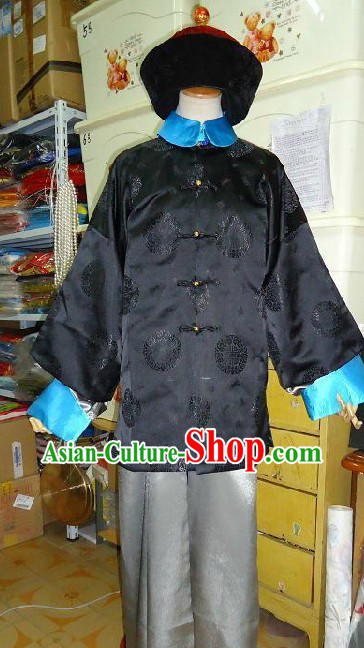Ancient Qing Dynasty Government Official Costume and Hat for Men