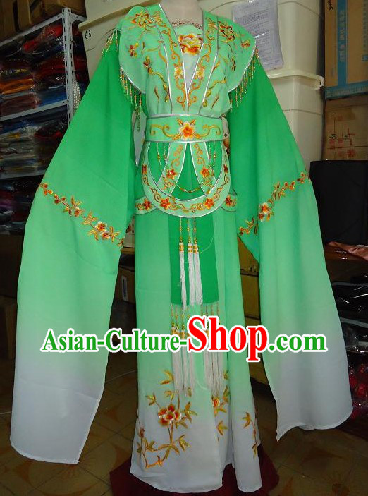 Ancient Chinese Opera Green Huadan Costume for Women