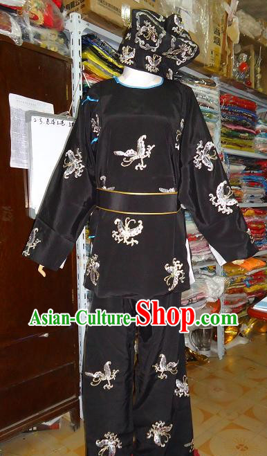 Ancient Chinese Embroidered Butterfly Costume and Hat for Men