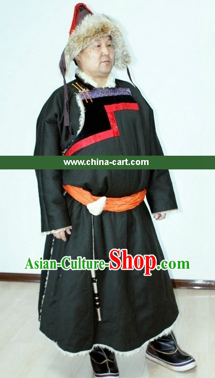 Traditional Chinese Mongolian Clothing and Hat for Men