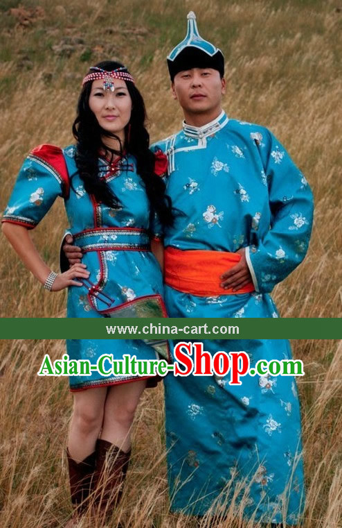 Traditional Chinese Mongolian Clothing and Hat for Men and Women