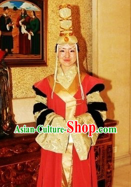 Ancient Chinese Mongolian Clothes and Hat for Women