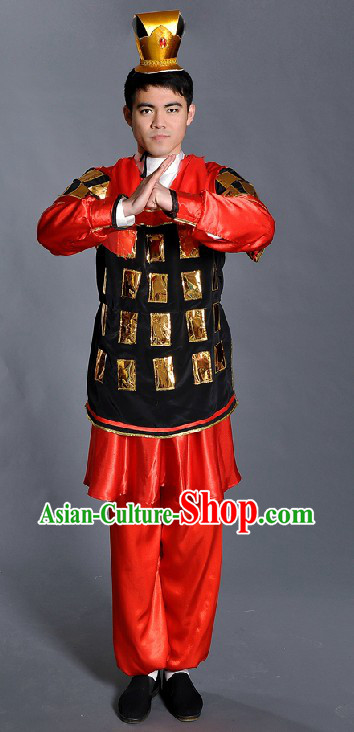 Ancient Chinese Terra Cotta Warrior Costume and Hat for Men