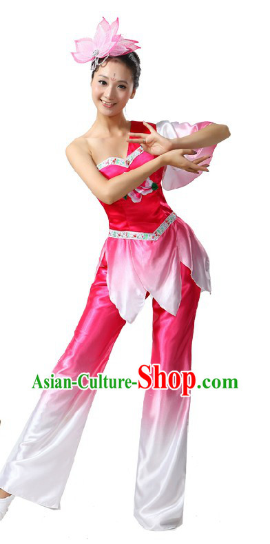 Traditional Chinese Fan Lotus Dance Costume for Women