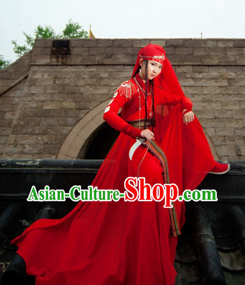 Ancient Chinese Tian Shan Original Tribe Princess Costumes and Headpiece