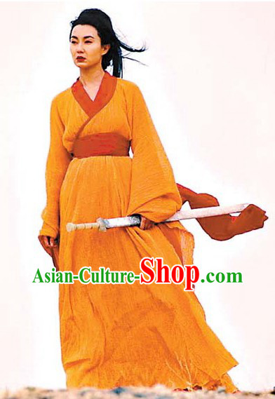 Ancient Chinese Orange Swordswoman Costumes in Hero