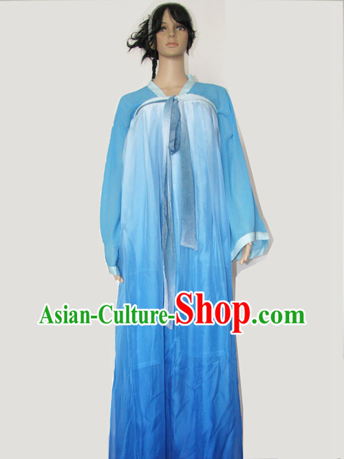 Ancient Chinese Blue Tea Ceremony Costume for Women