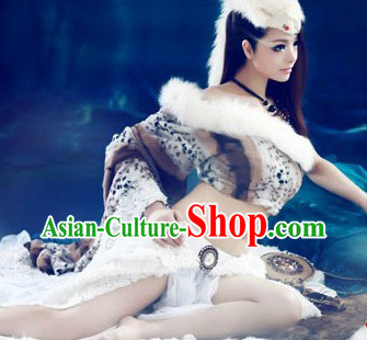 Ancient Chinese Foxtrel  Costume and Headpiece for Women