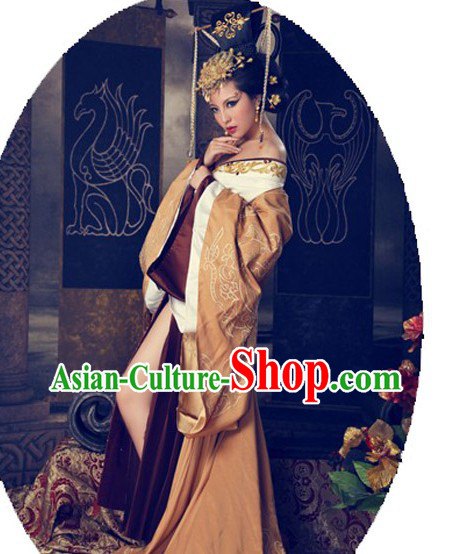 Ancient Chinese Han Dynasty Empress Costume and Headpiece