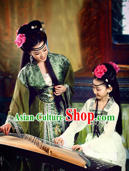 Ancient Chinese Mother and Daughter Guzhuang Hanfu Clothing Two Sets