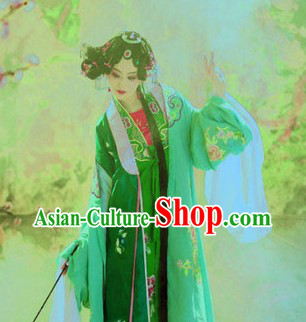 Ancient Chinese Green Embroidered Opera Hua Dan Costumes for Women