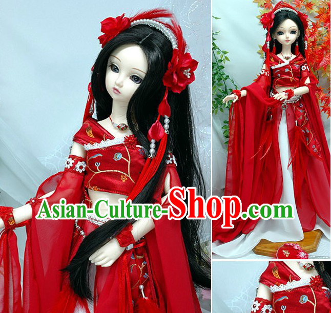 Ancient Chinese Palace Dancer Costume and Headpiece Complete Set