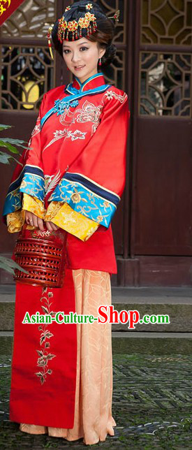 Chinese Minguo Time Embroidered Phoenix Wedding Dress Complete Set for Brides