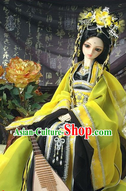 Ancient Chinese Princess Yellow and Black Clothes