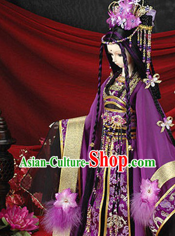 Ancient Chinese Purple Princess Costume and Hair Accessories