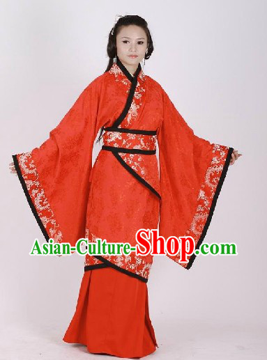 Ancient Chinese Han Dynasty Red Wedding Dress Complete Set for Women