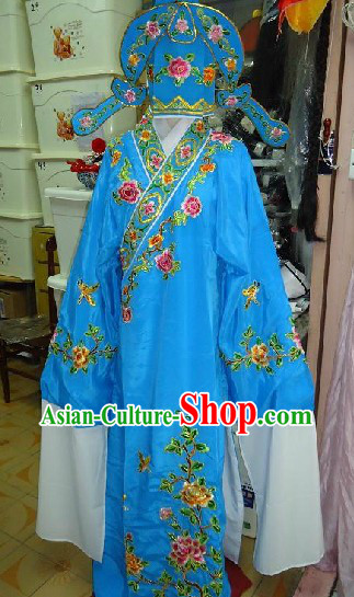Chinese Peking Opera Embroidered Flower Young Man Costume and Hat