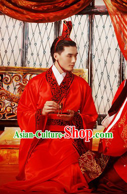 Ancient Chinese Lucky Red Bridegroom Wedding Dress