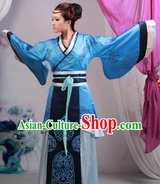 Ancient Chinese Blue Hanfu Clothing for Woman