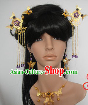 Ancient Chinese Handmade Hair Accessories Earrings and Necklace Complete Set for Women