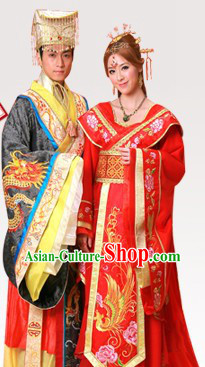 Ancient Chinese Emperor and Empress Wedding Dresses Two Sets