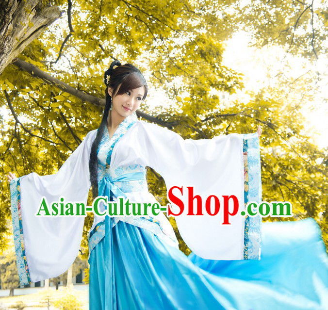 Ancient Chinese Blue and White Hanfu Dance Costumes for Women