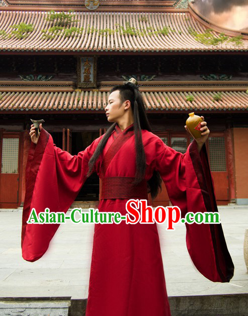 Ancient Chinese Plain Red Hanfu Costume for Men