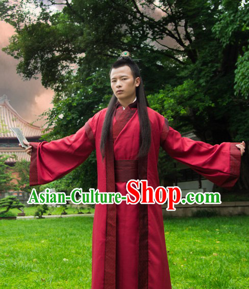 Ancient Chinese Red Hanfu Costumes for Men