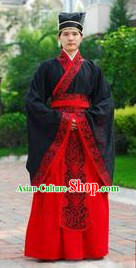 Ancient Chinese Han Palace Prime Minister Costume and Hat