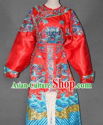 Red Golden Embroidered Dragon Peking Opera Costumes for Men
