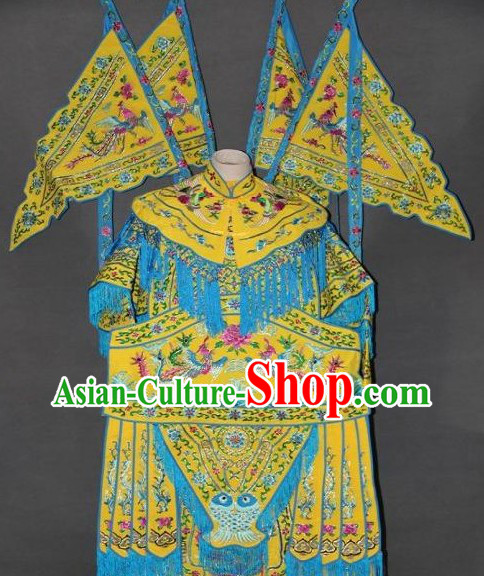 Ancient Women Heroine Embroidered Phoenix Armor Costumes with Flags