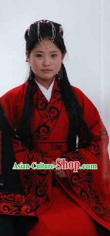 Ancient Chinese Han Dynasty Quju Embroidered Phoenix Clothes for Women