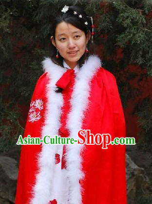 Ancient Chinese Red Embroidered Lotus Princess Cape