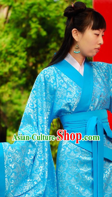 Ancient Han Dynasty Princess Blue Flower Clothing for Women