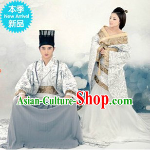 Traditional Chinese Hanfu Dresses Two Sets for Men and Women