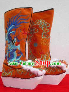Chinese Traditional Embroidered Dragon High Heel Boots