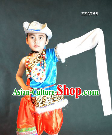 Traditional Chinese Tibetan Dance Costumes and Hat for Kids