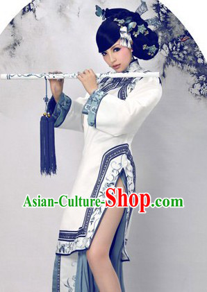 Blue and White Chinese Dance Costumes for Women