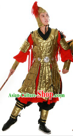 Ancient Chinese General Style Armor Costume and Helmet for Men
