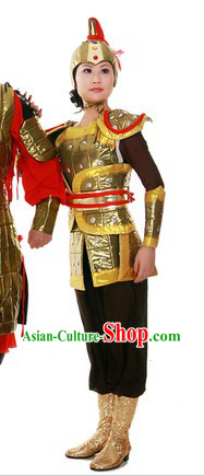 Ancient Chinese General Style Armor Costume and Helmet for Women