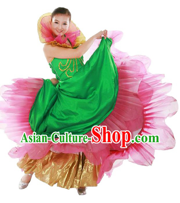 Chinese Classic Lotus Dance Costumes for Women