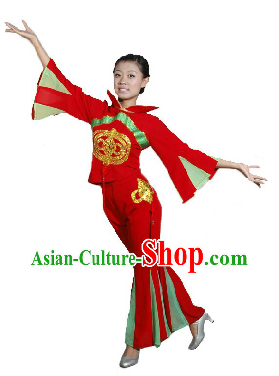 Traditional Chinese Knot Folk Red Dance Costumes and Head Piece for Women