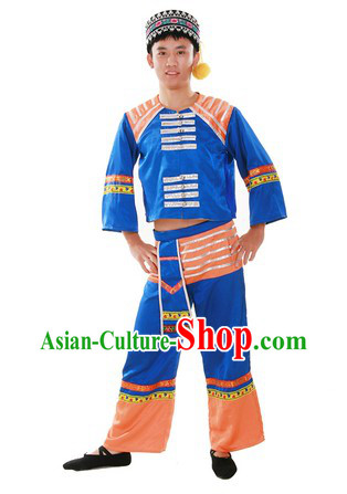 Chinese Traditional Gaoshan Minority Dance Costume and Hat for Men