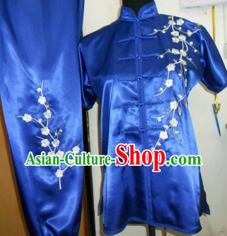 Chinese Classical Blue Embroidered Plum Blossom Tai Chi Uniform