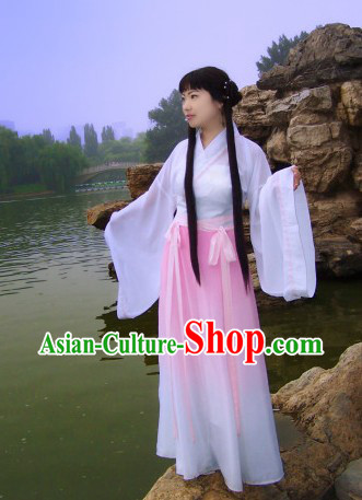 Ancient Chinese White Hanfu Costumes for Lady